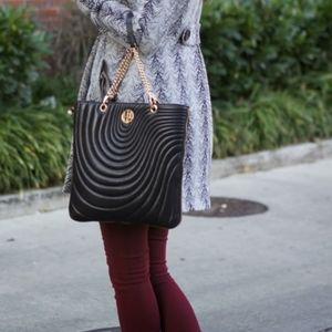 Henri Bendel No 7 Quilted Lambskin Leather Tote